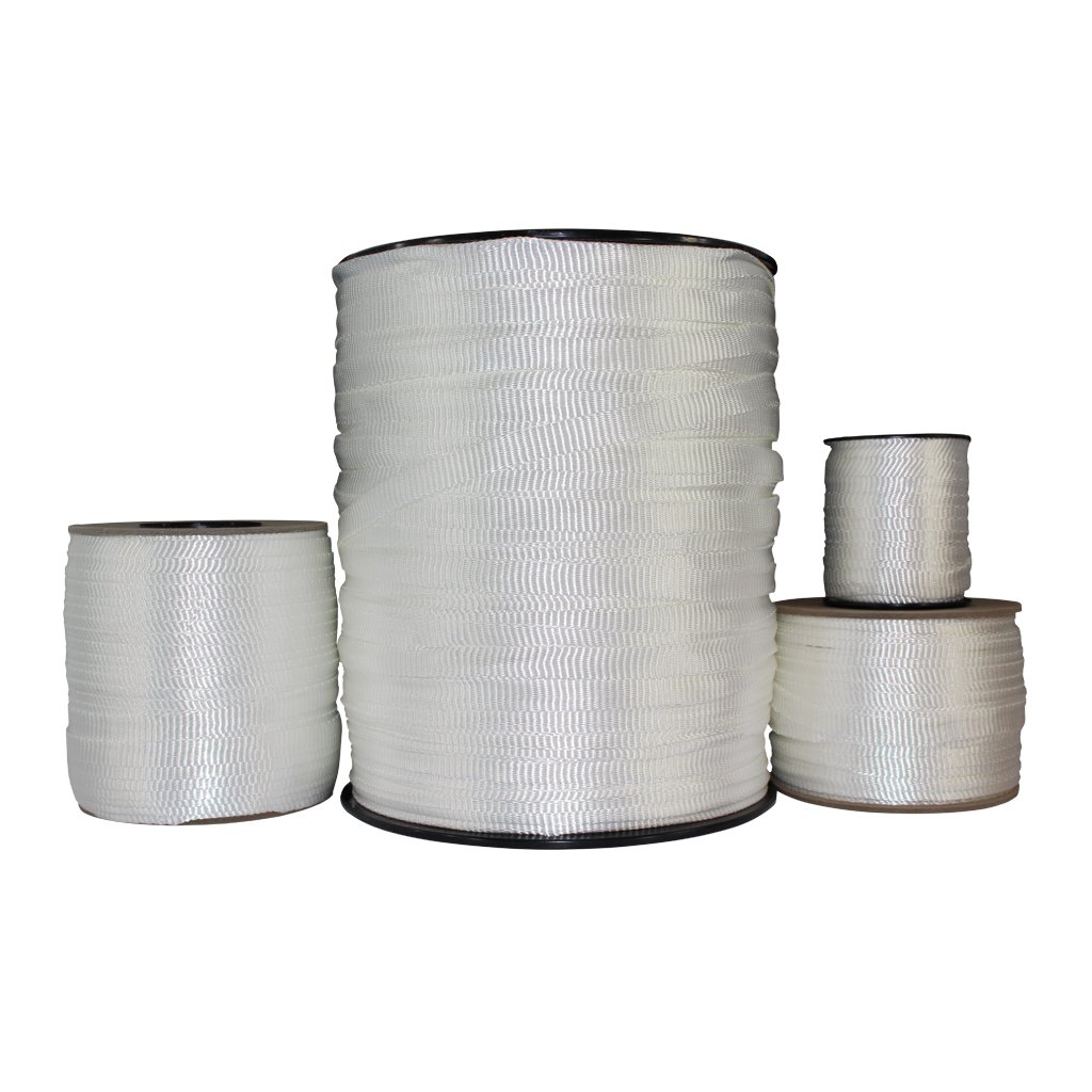 Polyester Pull Tape (5/8 inch) - SGT KNOTS - Professional Grade Pre-Lubricated Polyester Mule Webbing - Lightweight Flat Rope - Crafting, Commercial Electrical, Tie Downs, More (100 ft - White) by SGT KNOTS