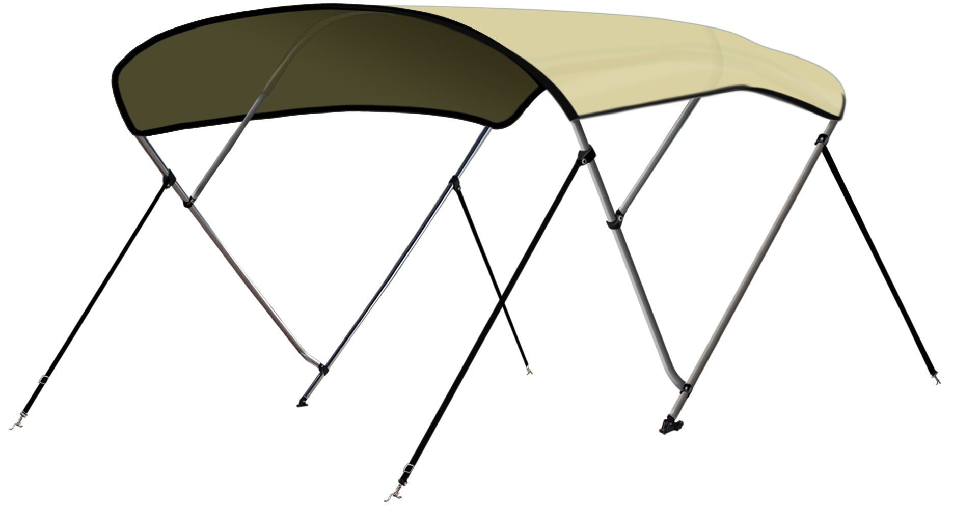 Leader Accessories 3 Bow Sand 6'L x 46'' H x 54''-60'' W Bimini Top Boat Cover 4 Straps for Front and Rear Includes Mounting Hardwares with 1 Inch Aluminum Frame