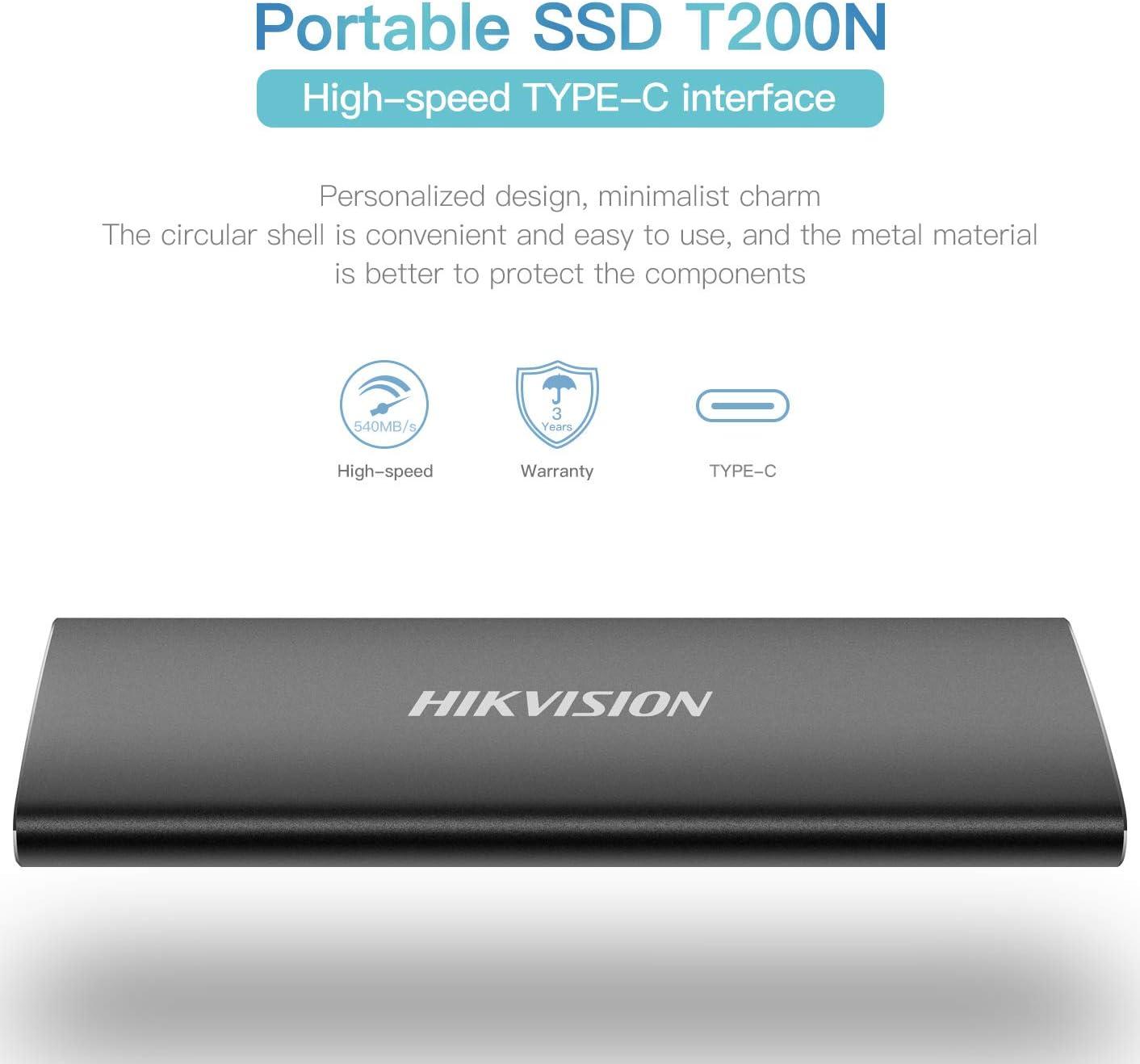 HIKVISION Disque Dur Externe SSD Portable Ultra Mince de 256 Go T200N Alliage daluminium USB 3.1 Gen 2 jusqu/à 540 M//s