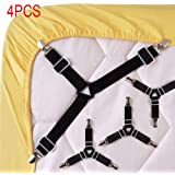 Enjoygous 4PCS Bed Sheet Holder Straps Adjustable Triangle Sheet Straps Fitted Sheet Straps Suspenders Fastener Grippers Corner Holder for King Queen Twin Size,Mattress Covers, Sofa Cushion (A)