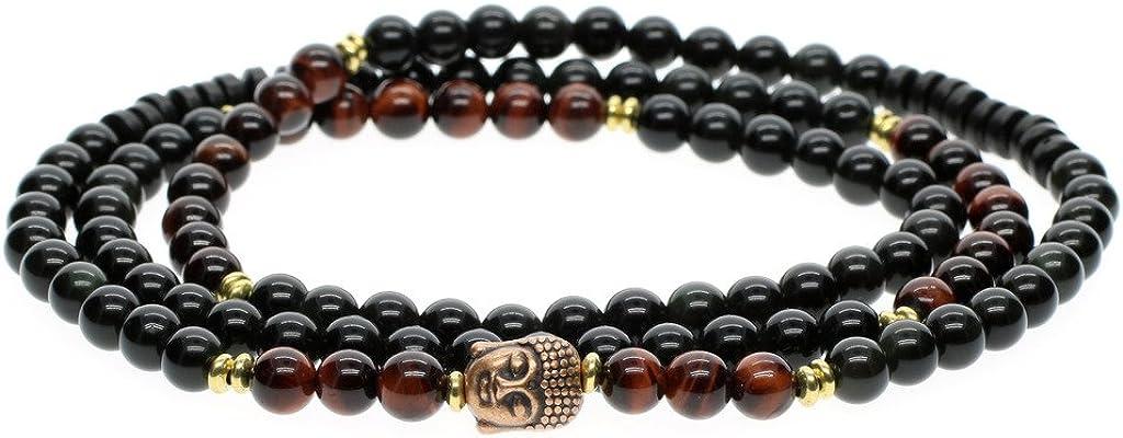COAI® Pulsera Collar de Piedra Meditación 108 Mala Ojo de Tigre Rojo y Obsidiana 6mm
