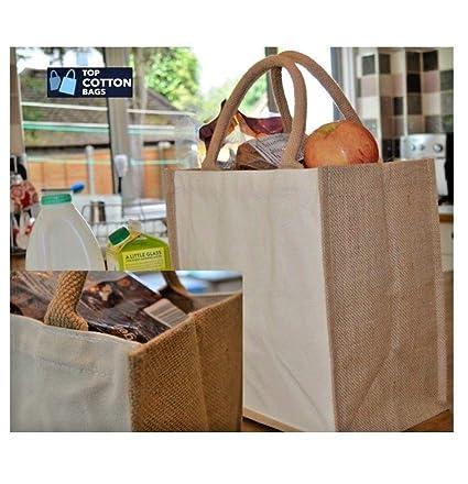 38e8fd2aa5 TOP COTTON BAGS 10 x 100% cotone tela di iuta shopping borsa con manici  corda in cotone naturale.