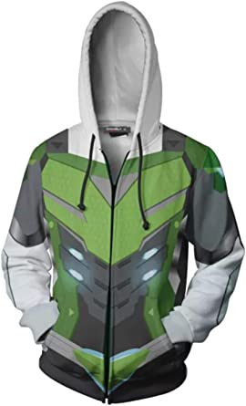 BESTcos Adult Shimada Genji Costume Hooded Sweatshirt Hoodie Zipper Jacket
