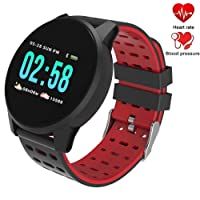 Fitness Tracker Watch Waterproof IP67 Smart Watch with Heart Rate, Blood Pressure & Sleep Monitor Smart Bracelet Band Pedometer Calorie Monitor Color Screen Activity Health Tracker for iPhone and Android Smart Phones