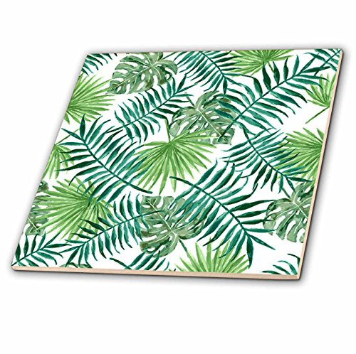 3dRose Vintage Style Floral - Image of Vintage Style Palm Leaves Pattern - 12 Inch Ceramic Tile (ct_279879_4) from 3dRose