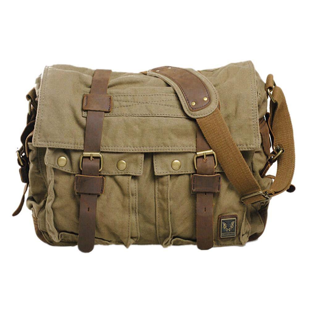 Vintage Canvas Leather School Military Shoulder Bag Messenger Sling Crossbody Bag