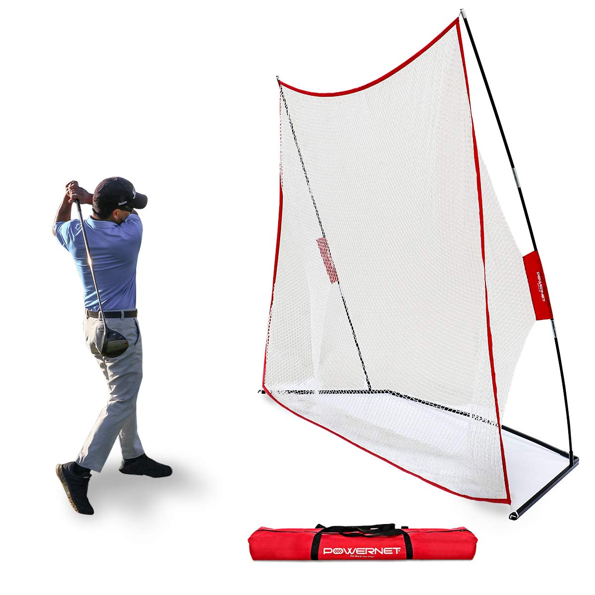 PowerNet Golf Net | Use Real or Practice Balls | New and Improved Design for 2019 | for Working on Drives, Chips with Woods or Irons | Large Hitting Surface | Indoor or Outdoor Use (10' x 7') by PowerNet