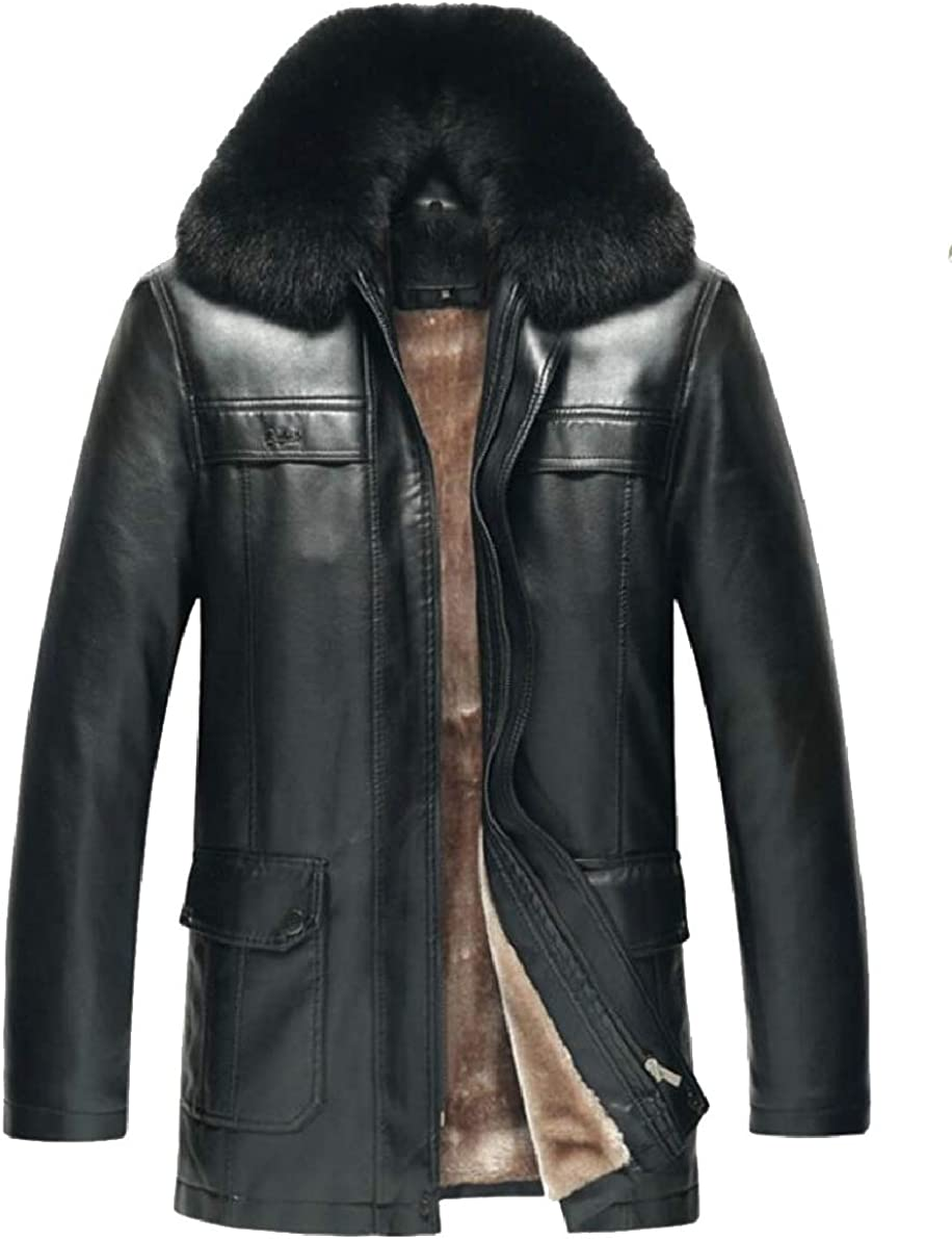 ONTBYB Men Classic Sheep Faux Leather Warm Coat Jacket Lamb Wool Lined Outwear