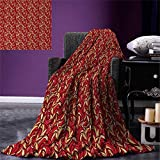 Leaves Digital Printing Blanket Abstract Colored Foliage Pattern with Coming of The Spring Theme Image Summer Quilt Comforter 80''x60'' Verimilion Ruby Beige