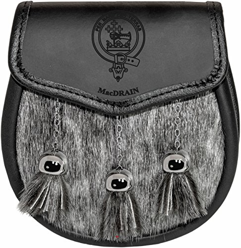 MacDrain Semi Dress Sporran Fur Plain Leather Flap Scottish Clan Crest