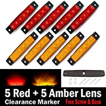 "10 pcs TMH® 3.8"" 6 LED Red & Amber Side Led Marker ( 5 + 5 ), Trailer marker lights, Led marker lights for trucks, Marker light amber, Rear side marker light, Truck cab marker lights, RV marker light"