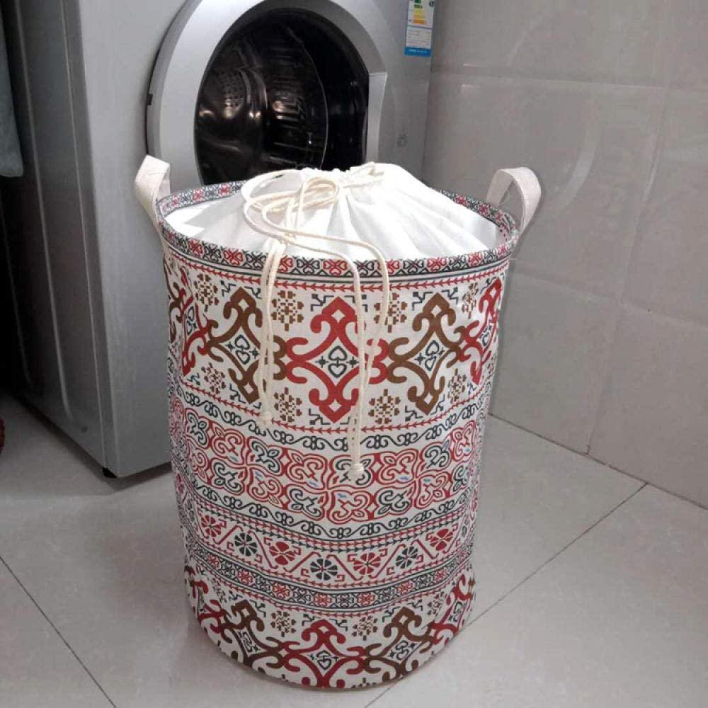 BASKET Laundry Hampers,Drawstring Chinese Style Laundry Hampers with Handle Large-Capacity Collapsible Easy to Carry Suitable for Bedrooms Laundry Room Storage