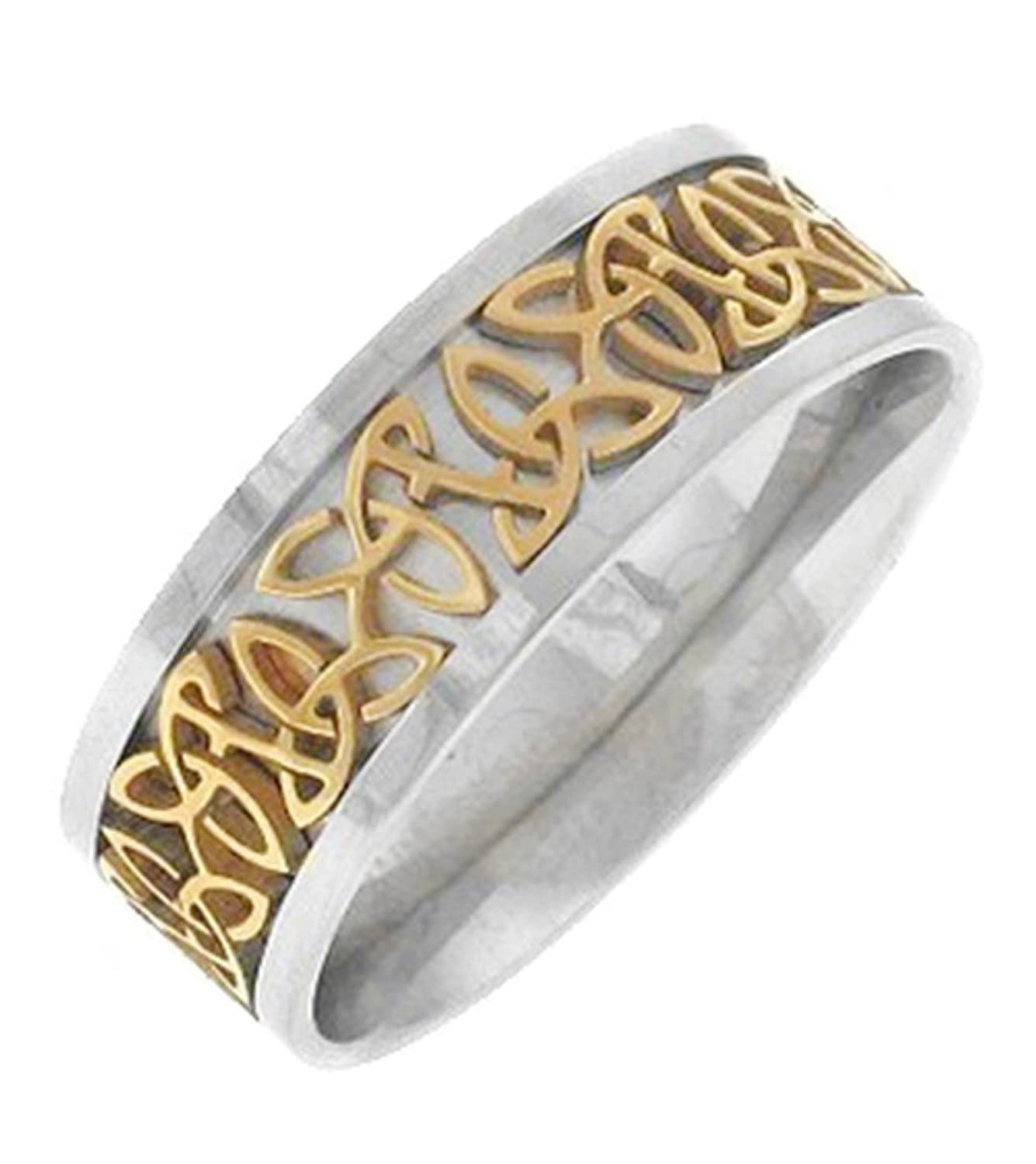 irish knots celtic wedding gold ring gaelic wide rings karat