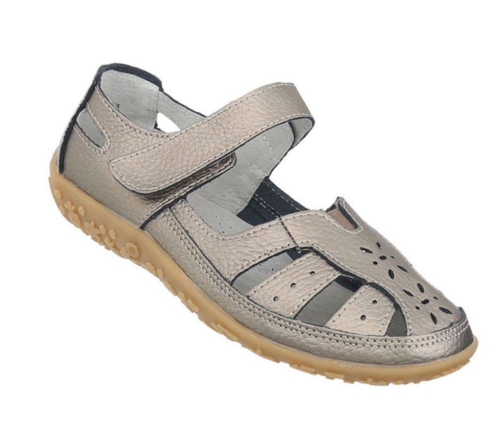 Damen Schuhe Sandalen Leder Klettverschluszlig;42 EU|Bronze