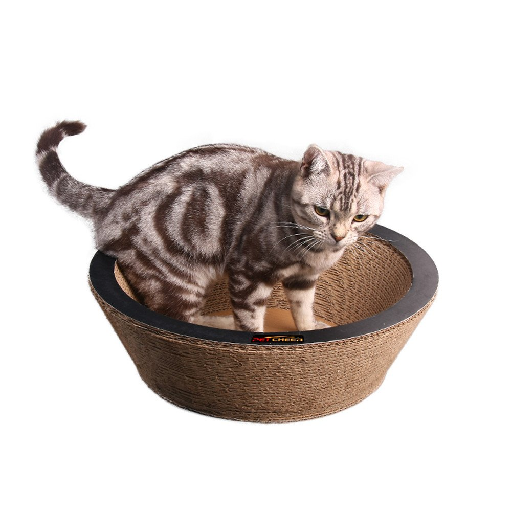 PetCheer Bowl Shape Cat Scratcher Lounge Bed with Catnip