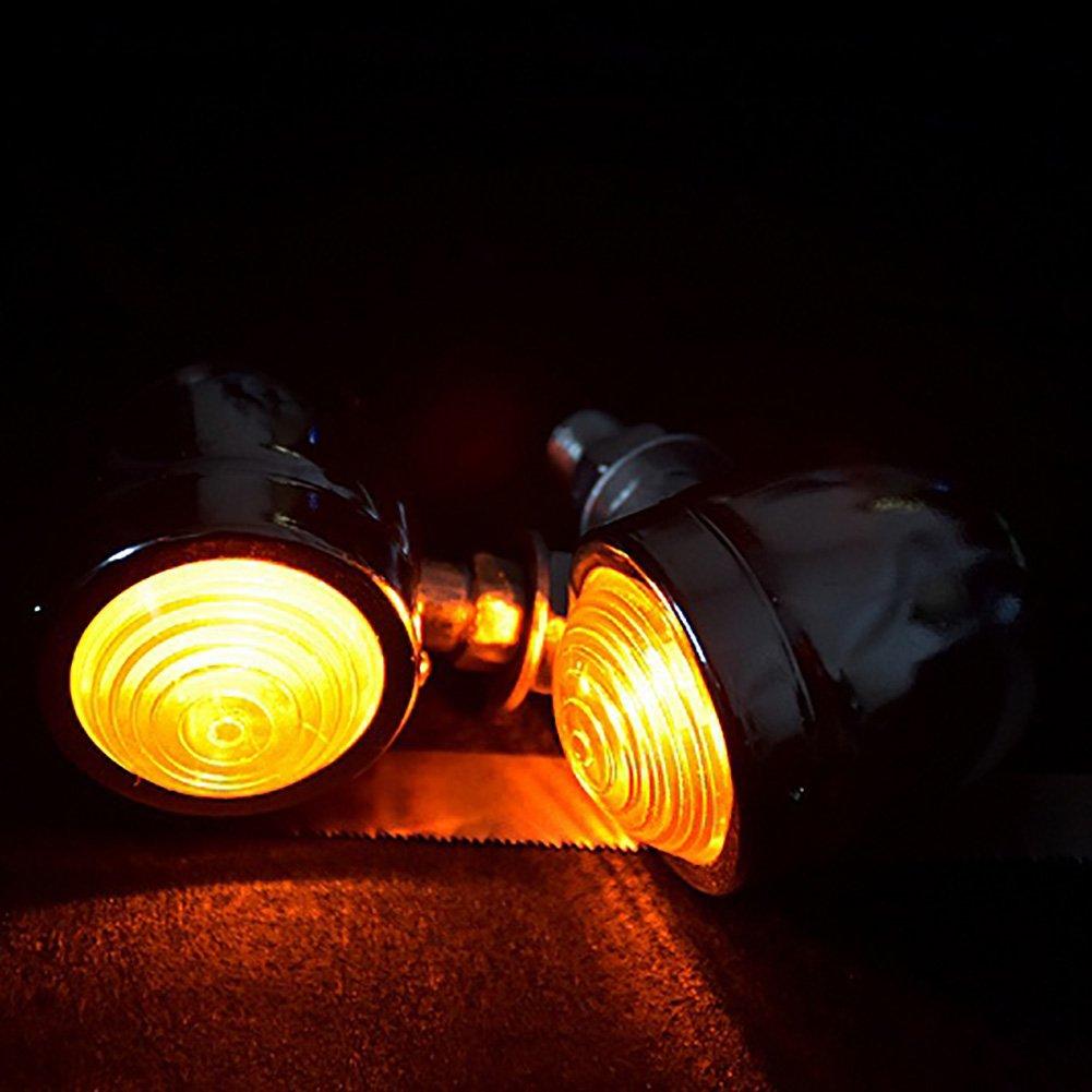 . TUINCYN Motorcycle Turn Signals Light Bulb Black Anodized Aluminum Motor Indicator Light Blinker Lamp Mounting DC 12V 4pcs
