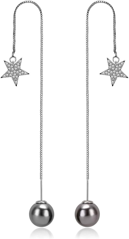 Daesar Pendientes Plata Oro Gris Mujer Pendientes Estrella Circonita Perla Pendientes Chapado en Platino Pendientes Mujer