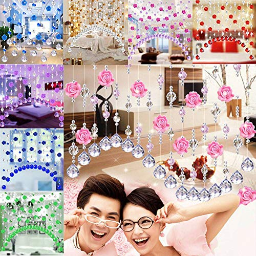 (LZLAN 1 Meter Glass Crystal Beads Rose Flower Curtain Partition Screen Window Drapes Multi Color Option No Pendants (Light Blue,One Size))