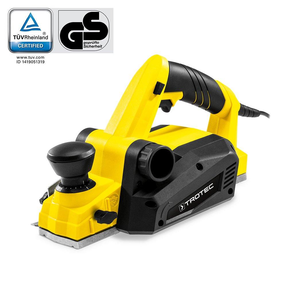 TROTEC Elektrohobel PPLS 10‑750 Handhobel DIY Hobel elektrisch (750 W, Hobelbreite 82 mm, Spantiefe 0 – 3,0 mm, Falztiefe 0 – 15 mm)