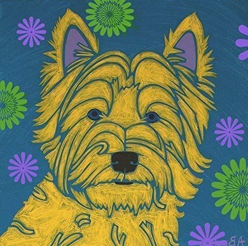 (Westie Floral Tile Coaster, West Highland Terrier Decor by Angela Bond)