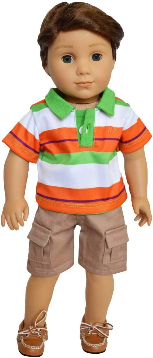 18 Inch Boy Doll Clothes Brittanys Green and Orange Outfit fits American Girl 18 Inch Boy Dolls