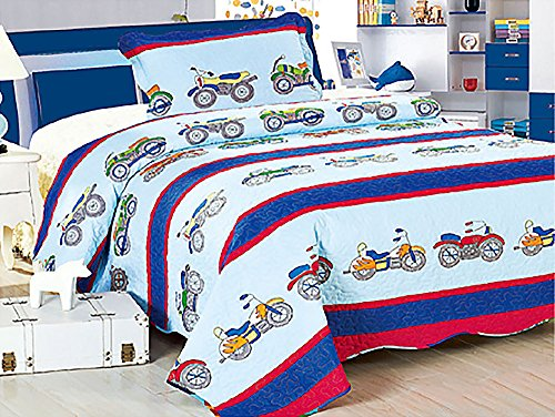 Homemusthaves Twin MultiColor Light/Dark Blue Red Motorcycle Bike 2PCS Quilt Bedspread Set Kids Boys Girls Bed Coverlet and Sham