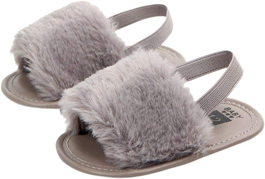 HIUGHJ Zapatos de niñas Zapatos de Verano Dulces niñas niños Primer Andador Solid Flock Soft Sandalias Zapatillas Casual, Gris, 2