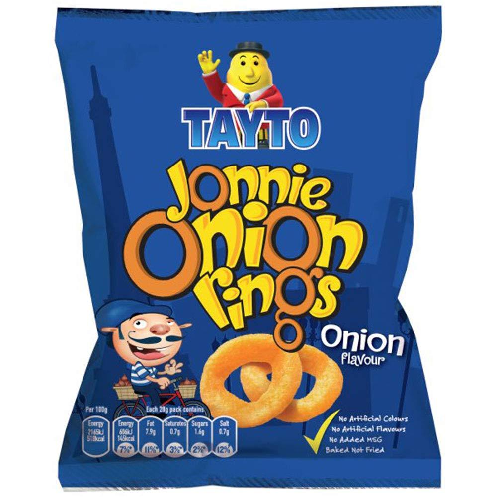 TAYTO Jonnie Onion Rings - Spring Onion flavour snacks from Ireland (12 x 28g packs)
