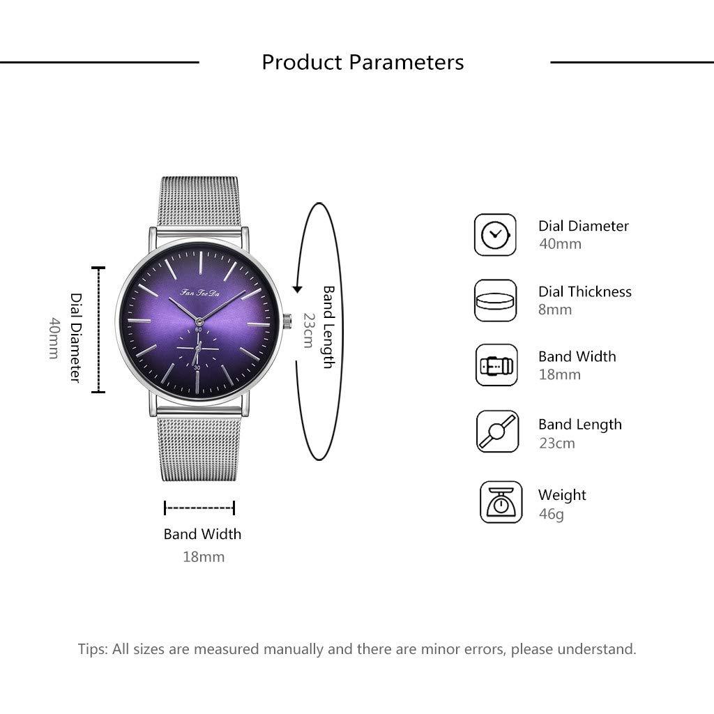 Pottoa Herren Uhren Mode Luxus Mesh G/ürtel Uhr Doppelauge Dial Analog Quarz Herrenuhr Lederband Herrenuhr Automatik Herrenuhr Luxus Uhr Business Datum Modisch Analog Quarzuhr