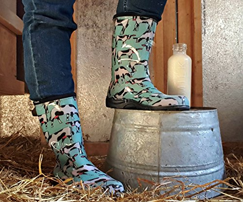 Sloggers Women's Waterproof Rain and Garden Boot with Comfort Insole, Cow-abella Mint, Size 9, Style 5017CWM09