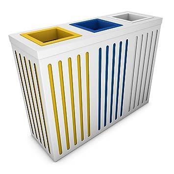 poubelledirect poubelle tri slectif 3 bacs 50 litres corps blanc 3 bacs de - Poubelle Tri Selectif 3 Bacs
