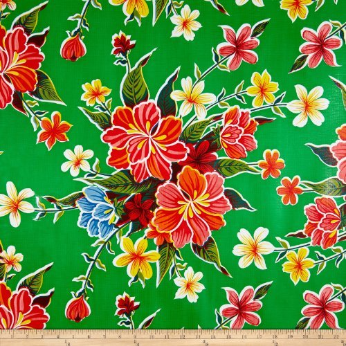 Oil Cloth International Oilcloth Hibiscus Green Fabric By The Yard ()