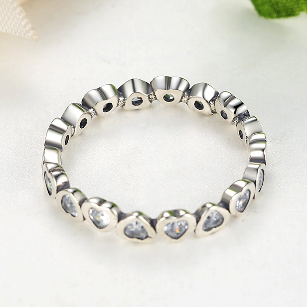 Clear CZ The Kiss Forever More 925 Sterling Silver Stackable Ring