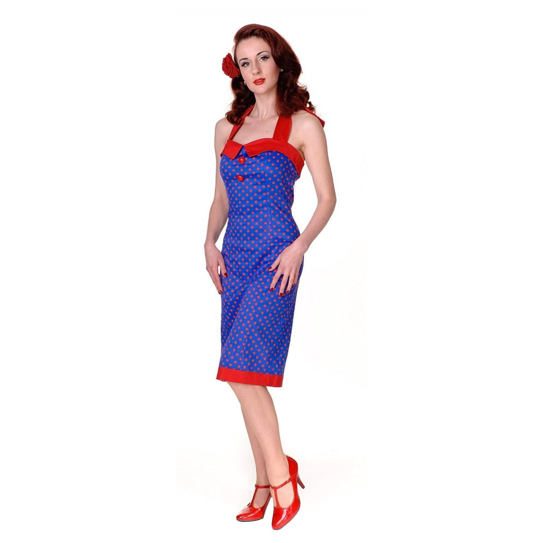 Collectif SINDY DOLL DRESS POLKA blue-red XXL