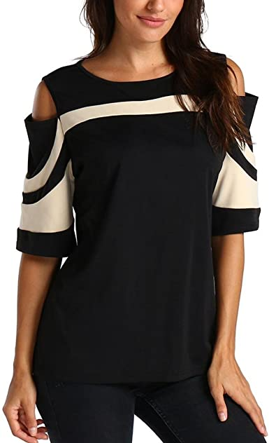 CUCUHAM Womens Ladies Short Sleeve Solid O-Neck Blouse Shirt Pullover Tops