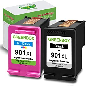 GREENBOX Remanufactured Ink Cartridge for HP 901 901XL for HP Officejet 4500 J4500 J4524 J4540 J4550 J4580 J4624 J4640 J4660 J4680 J4680C Printer (1 Black 1 Tri-Color)