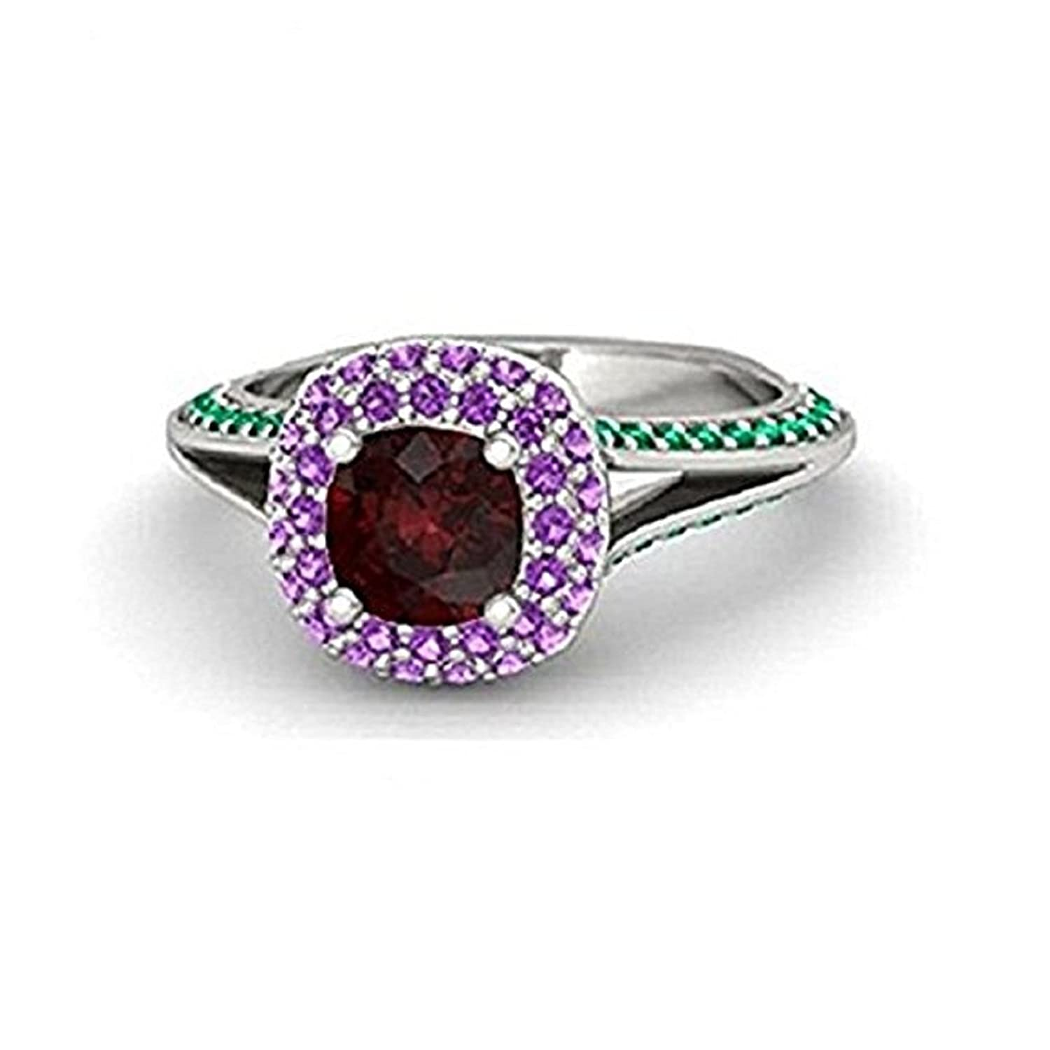 14K White Gold Plating Alloy Ariel Princess Ring Created Multi-Color CZ Princess Engagement /& Wedding Ring Womens Fashion Jewelry