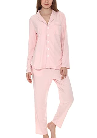 828b3badd2 Yulee Women s Button-Up Sleepwear Long Sleeve Pajama Set Pj Top and Pant at  Amazon Women s Clothing store