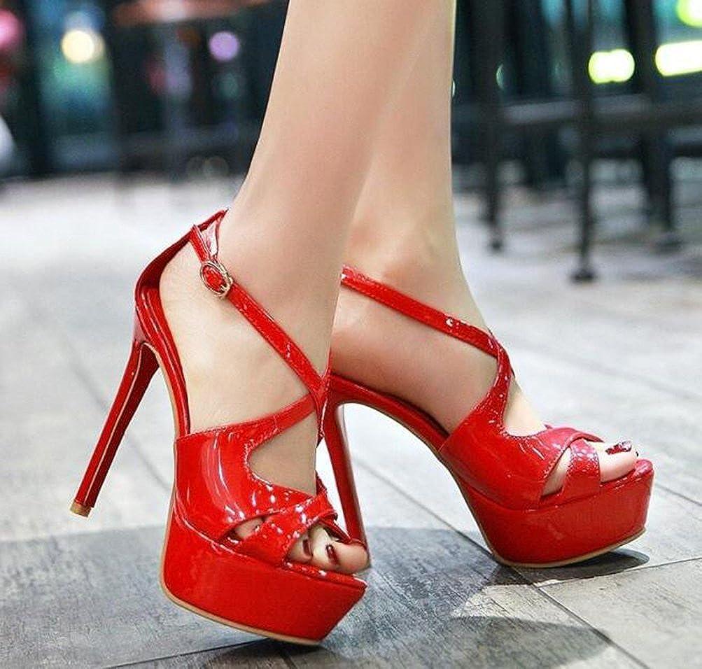 Easemax Damen Hübsch Peep Toe Plateau Schnalle Pumps Sandalen mit Stilettos Stilettos mit Rot cee081