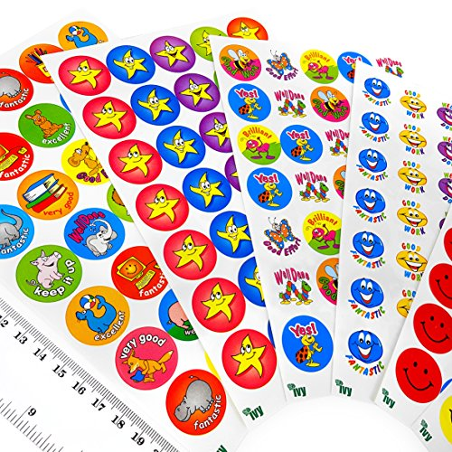 Face Stationery - Ivy Stationery - 23.5mm Assorted Motivational Merit Award Face Stickers - Pack of 420 - 233001