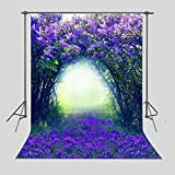 FUERMOR Background 5x7ft Purple Blue Flowers Photography Backdrop Studio Photo Props Room Mural RQ034