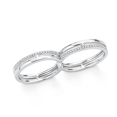 e1479d480fe0 s.Oliver Damen-Ring Doppelring für zwei Finger 925 Silber rhodiniert  Zirkonia weiß  Amazon.de  Schmuck