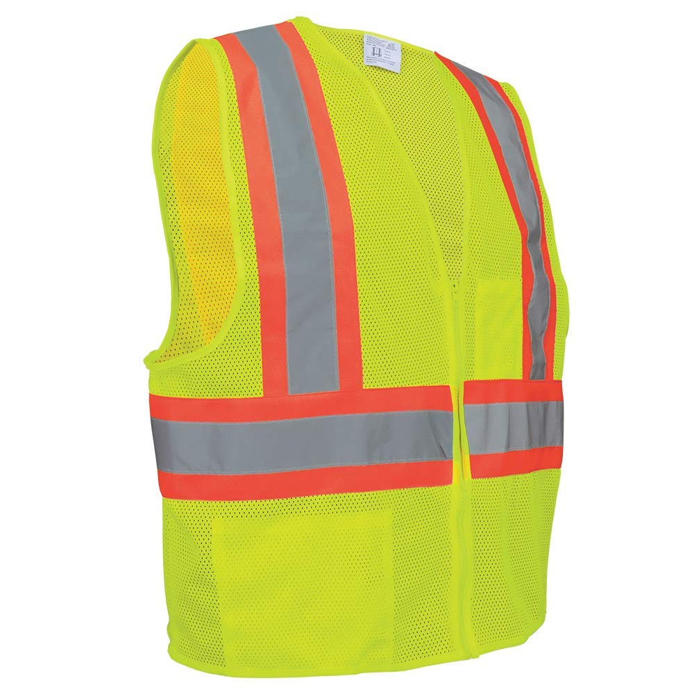 GLO-002-6XL Lime Green Global Glove GLO-002 FrogWear Lightweight Polyester Class 2 Mesh Zipper Front Safety Vest Case of 50 6X-Large