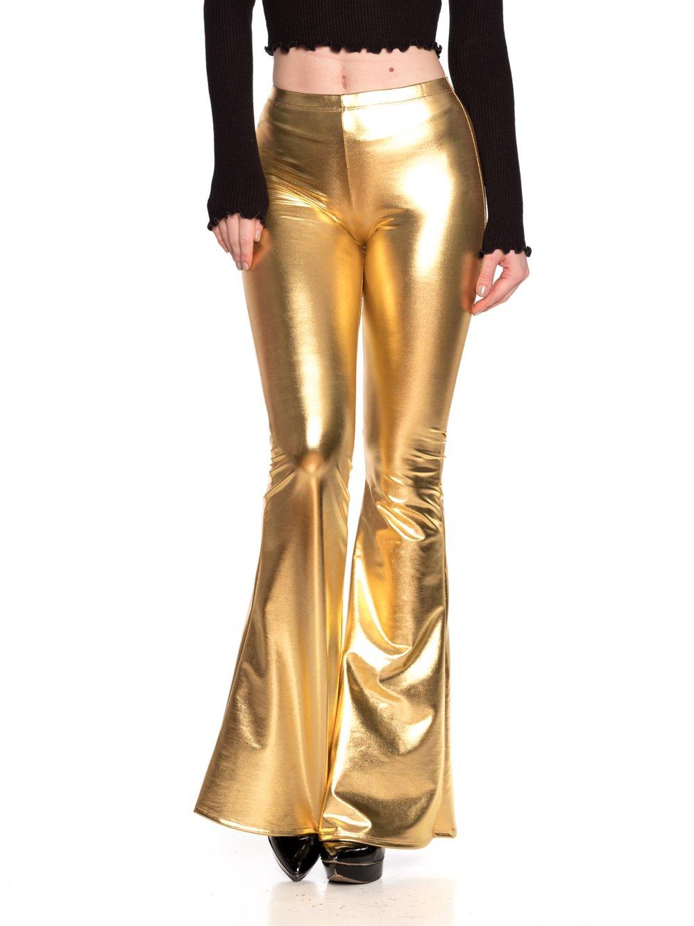 Women's Junior Plus J2 Love Faux Leather Bell Botom Flare Pants, 1X, Gold