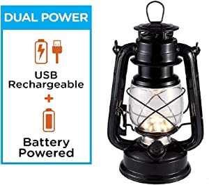 Rechargeable Vintage Hurricane Lantern, Warm White Battery Operated Lantern with Dimmable Switch, 15 LEDs Metal Hanging Lantern for Indoor or Outdoor Usage, Charging Cable and Battery Included (Black)