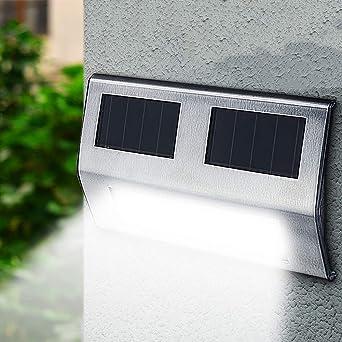 Danigrefinb luces de exterior, camino escalera camino de pared jardín patio lámpara de exterior energía solar LED luz, energía solar luz, White Light, talla única: Amazon.es: Iluminación