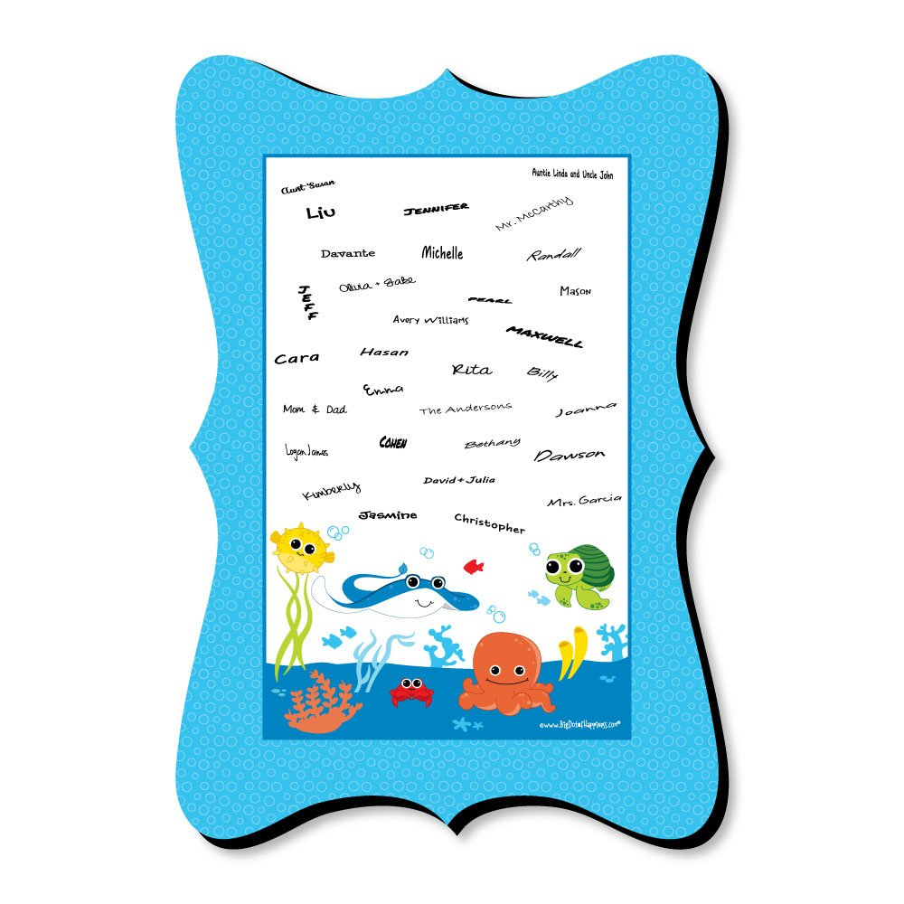 Big Dot of Happiness Under The Sea Critters - Unique Alternative Guest Book - Birthday Party or Baby Shower Signature Mat
