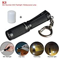 Bright Mini AAA Keychain Flashlight K3 with Diffuser 150 Lumens Cree LED small Torch For Hiking Camping EDC Home Use (black)