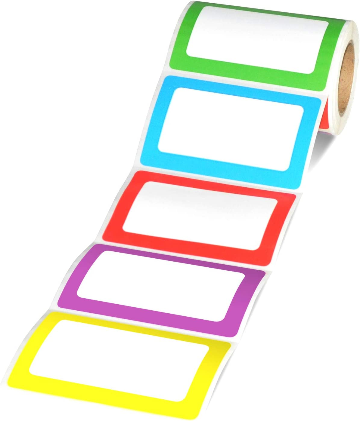"Methdic 5 Colors Adhesive Name Tag Labels, 250 Stickers 3.5"" x 2.25"" Plain Tags for Office & School"