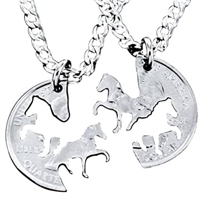 Amazon.com: Juego de ciervo pareja colgante collar ...